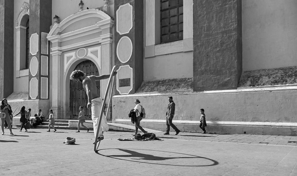 Acrobat Architecture Black & White Busking City Cyr Wheel Day Mexico Real People Street Performer Strong Talented
