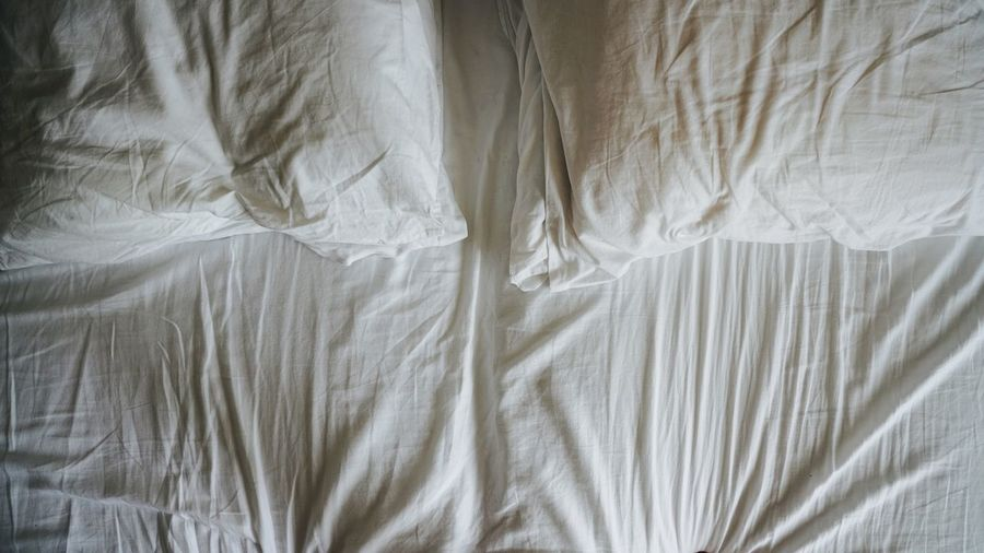 Minimalism Morning Creased Crinkled Cotton Bed Sheets Abstract Textile Full Frame Crumpled Indoors  Sheet Backgrounds Linen Bed High Angle View White Color Still Life Material Close-up Textured  Furniture Pattern No People Bedroom