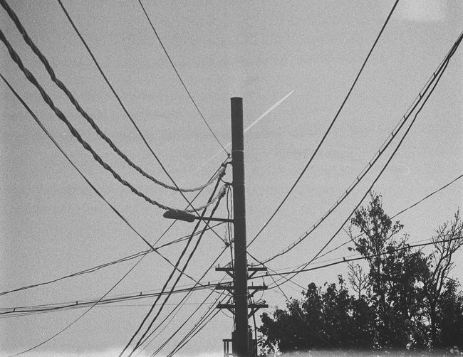 Plane Plane Trace Telephone Line Technology Electricity Pylon Electricity  Fuel And Power Generation Cable Power Supply Tree Power Line  Sky Electric Pole