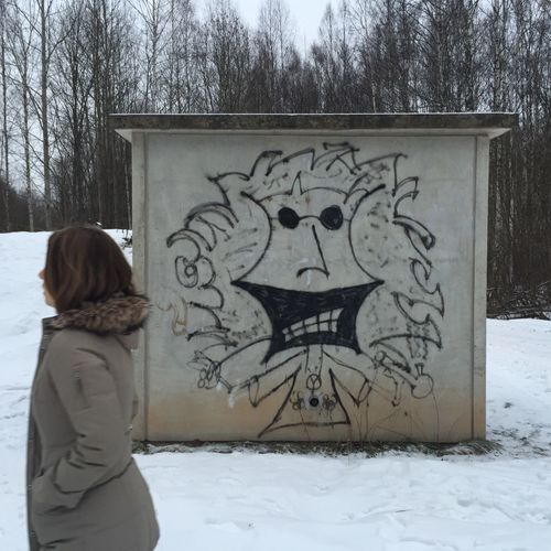 Girl passing a graffiti on a winter's day Adult ArtWork Brunette Building Coat Cold Temperature Drawing Female Forest Funny Girl Graffiti Lady Landscape Passing People Person Smile Urban Walking Wall White Winter Wintercoat Woman