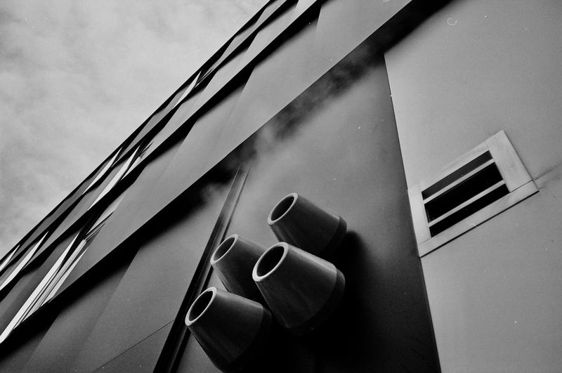 35mm Film Architecture Architecture Black And White Built Structure Close-up Day No People Outdoors Steam Vent