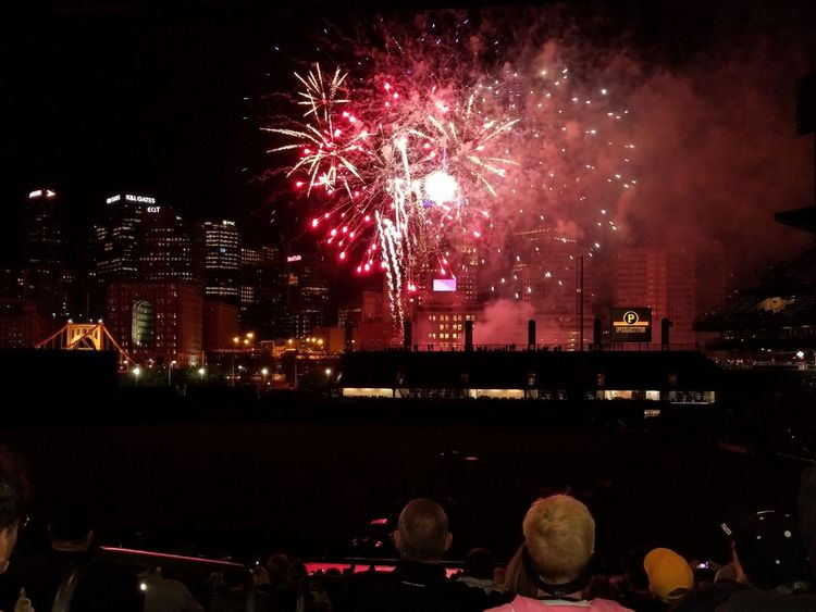Night Firework Display Celebration Firework - Man Made Object Exploding Event Illuminated Arts Culture And Entertainment Red Cityscape Outdoors City Sky Multi Colored Skyscraper Urban Skyline PNC Park Pittsburgh Pennsylvania Pittsburgh Pirates Baseball Stadium Excitement Large Group Of People Spectator Awe