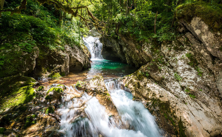 Idyllic mountain river in Lepena valley, Soca - Bovec Slovenia. Sunik water grove - beautiful mountain stream with waterfall and pools of green turquoise water. Creek Green Lepena Lepenca Nature Slovenia Soca River Sunik Water Grove Trees Alps Beauty In Nature Bovec Forest Groove Julian Alps Mountain Nature Pool River Soca Stream Valley Water Waterfall Woods