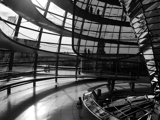 The Dome of the Berliner Reichstag. Berlin Reichstag Architecture Indoors  Day No People Sunlight Ceiling