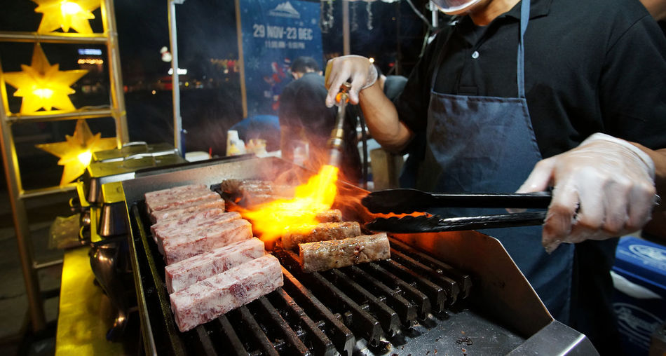 Food Preparation  Burning Meat Barbecue Grill Preparing Food Food Bazaar Night Market Torch Grilled Meat