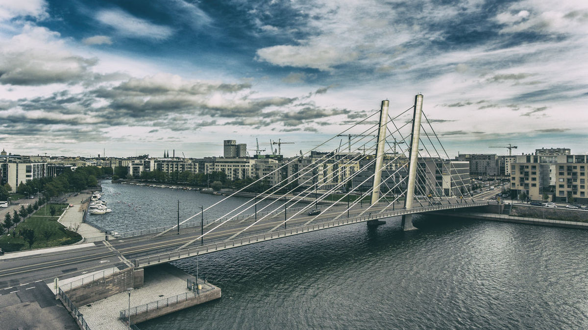 Aerial Photography Aerial View Aero Architecture Bridge - Man Made Structure Built Structure City Cityscape Connection Day Finland Finland♥ Helsinki Mode Of Transport No People River Riverside Sky Suspension Bridge Transportation Water