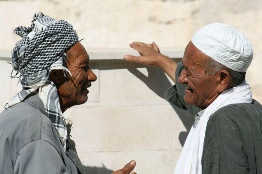 Senior Men Tunisia Talking Old Friends Real People