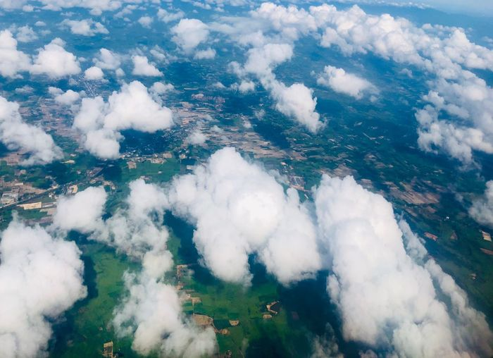 Cloud and ground floor on top view Cloud - Sky Beauty In Nature Nature Scenics - Nature Aerial View High Angle View Day Tranquil Scene Landscape Environment Outdoors Plant No People Land White Color Tranquility Sky Water Tree