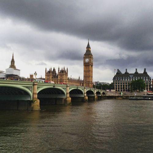 Westminster bridge over thames river by big ben in city