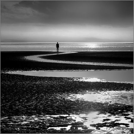 Another Place EyeEmNewHere Sunlight Another Place By Anthony Gormley Horizon Over Water Low Tide Monochrome Sculpture Sea Silhouette Standing Tranquil Scene Water