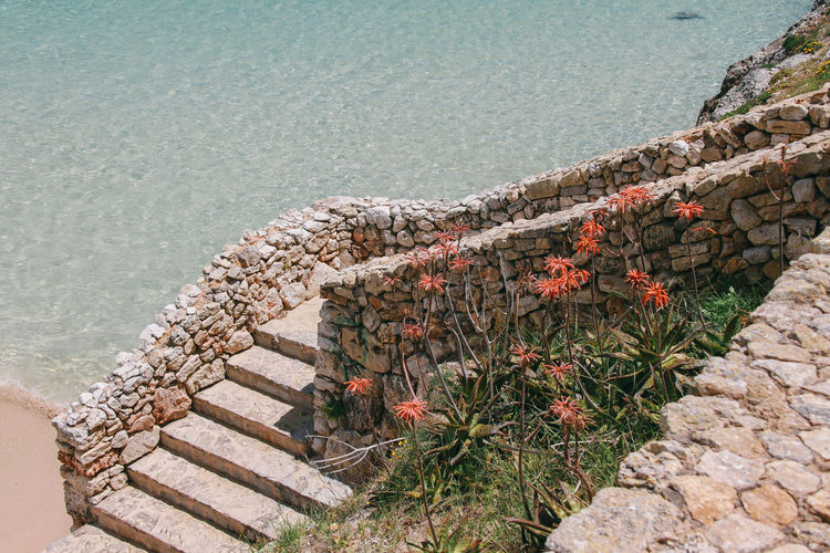 High angle view of steps against sea at majorca