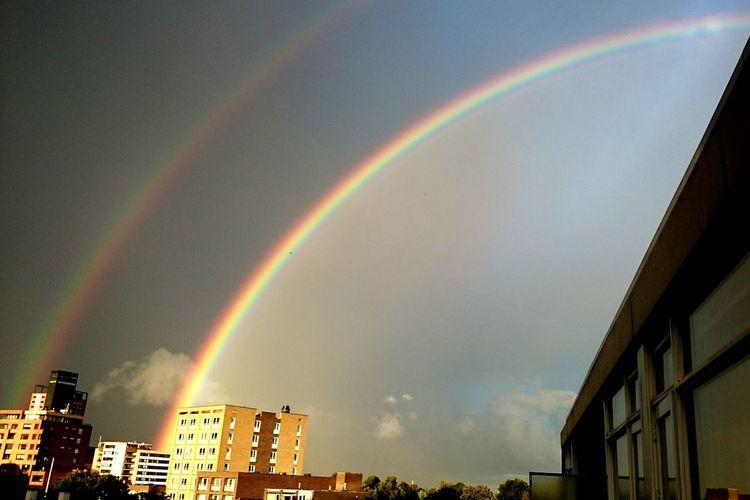 Double Rainbow Rainbow🌈 Rainbow Rainbows Rainbow Sky Rainbow Colors Rainbow <3 Cityscapes Skyporn View From The Window... Vieuw From My Window Cloud - Sky Cloudsporn The Street Photographer - 2016 EyeEm Awards The Architect - 2016 EyeEm Awards