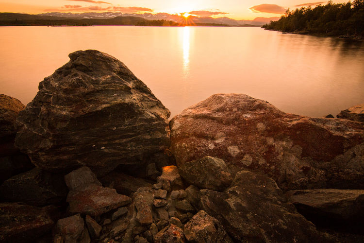 Camping Day Nature No People Norway Outdoor Photography Outdoors Reflection Rock - Object Sky Sun Sunlight Sunrise Sunset Water