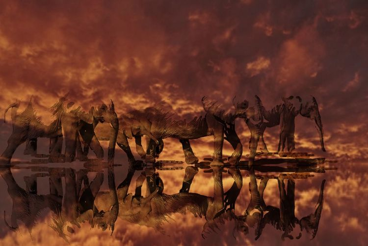 Panoramic view of fire on lake against sky during sunset