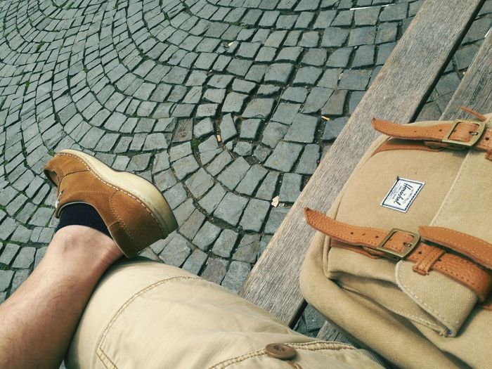 Human Leg High Angle View Shoe Shoes Backpack Fashion Fashion Photography Herschel Herschel Supply Co. Stonepavement Day Birkenstock Bench Shabby Chic Shabby Canvas Daypack Shortpants One Man Only Lifestyles Snapshot