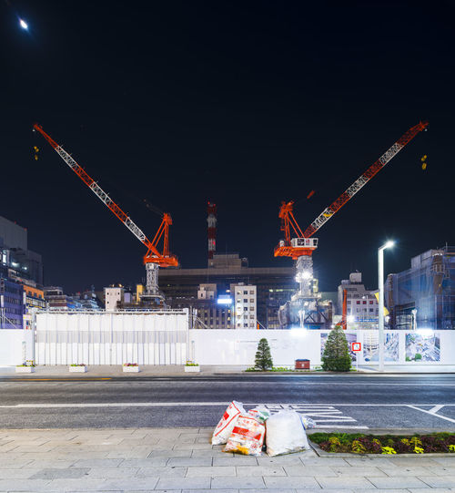 City Life Construction Crane Crane - Construction Machinery Deep Night Industry Moon Outdoors Tower Tower Cranes Urban