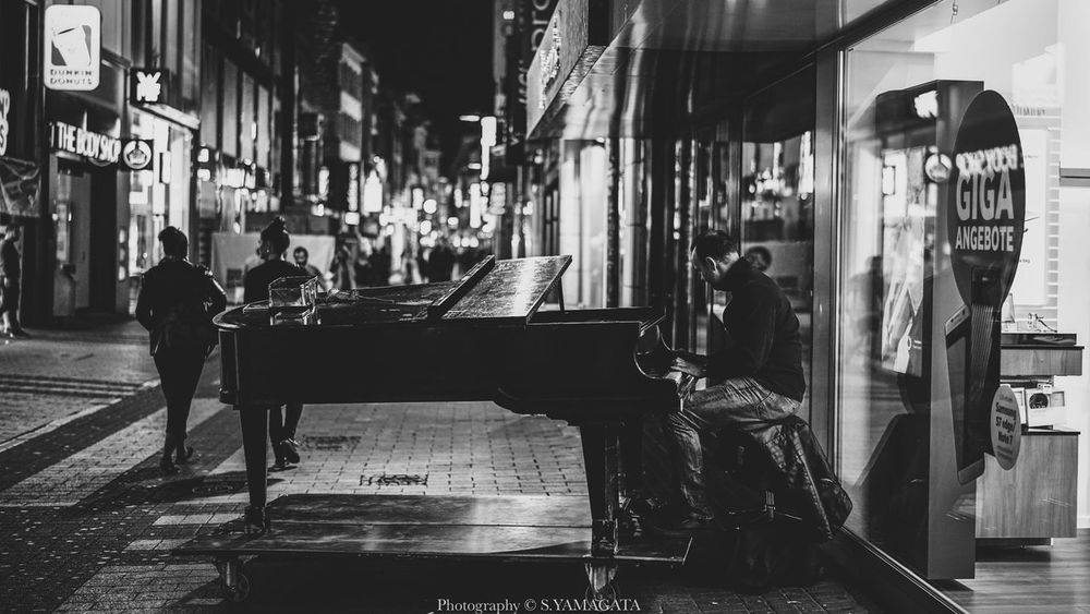 Street Piano performer at Köln Piano Moments Köln Germany Nightphography Streetphotography Piano Time Piano Performer  Real People City Architecture Outdoors Shadows & Lights Blackandwhite Monochrome Sonyimages Hkiger One Man Only From My Point Of View EyeEm Gallery Taking Pictures Moments Of Life Walking Around Travelling Photography EyeEmNewHere EyeEmNewHere Piano Moments The Street Photographer - 2017 EyeEm Awards