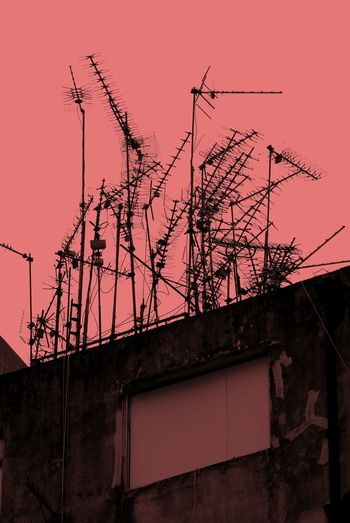 Outdoors No People Built Structure City Skyscraper Low Angle View Antenna Old Comunications Tv Antennas Hong Kong Old Buildings Composition Overlays Colourful Coloured
