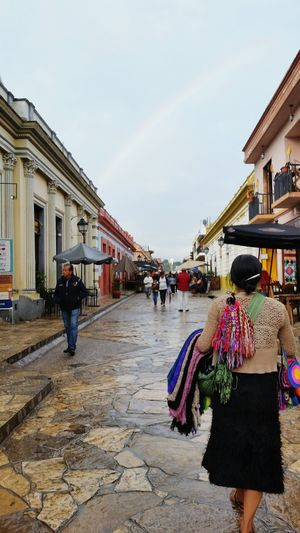San Cristobal de las Casas, Chiapas Rainbow Architecture Large Group Of People Multi Colored Sky People Day City Lifestyles Travel Destinations Rain Culture Built Structure