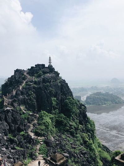 The peak Above The Clouds High Angle View Top View Route Stairs Ninh Bình Vietnam Travel Destinations Hike Sky Cloud - Sky Plant Nature Beauty In Nature Tranquility Tree Day Tranquil Scene No People Scenics - Nature Green Color Travel Environment Mountain Outdoors