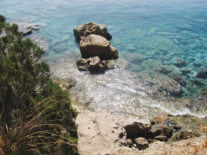 Water Sea Nature High Angle View Beauty In Nature Sunlight Rocks Ibiza View Sand