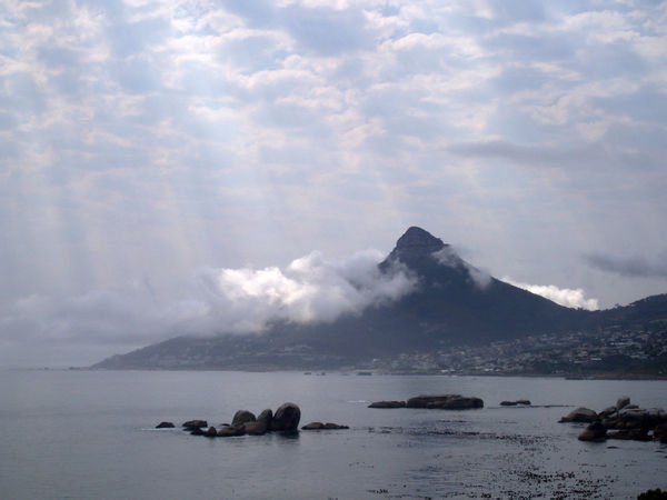 Cloud hugging Lion's Head. Mountain Mountain View Sea Landscape Nature Clouds Cape Town South Africa Sunbeams Travel Destinations Spectacular View South Africa Is Amazing On My Doorstep Beauty In Nature Idyllic