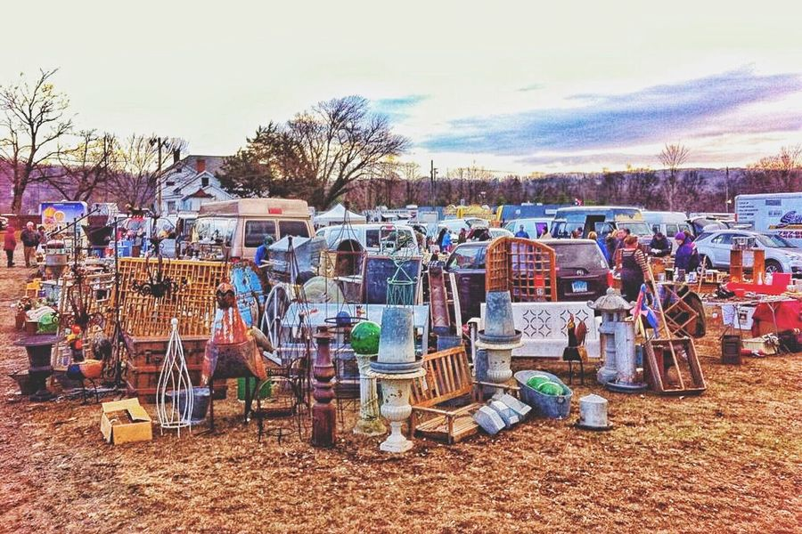 At the car boot sale... Chair Large Group Of Objects Table Water Small Business Street Market Retail  Arrangement Building Exterior Day Person Abundance Outdoors Collection Sky Sunshade Car Boot Sale Connecticut New England  October