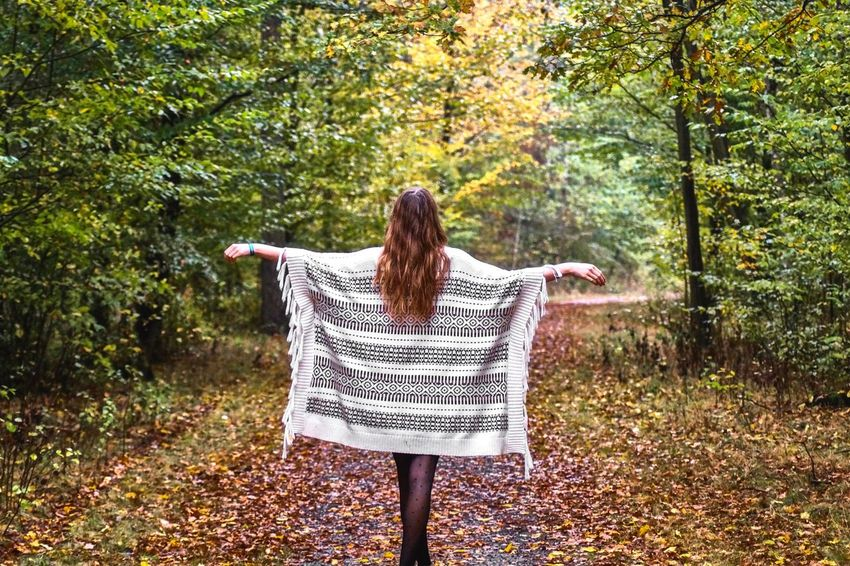 Be fly... Autumn Long Hair Leaf Rear View Only Women One Person Nature Forest Tree One Woman Only Adult Leisure Activity Adults Only Full Length WoodLand People Young Adult Getting Away From It All Brown Hair Tranquility Go Higher
