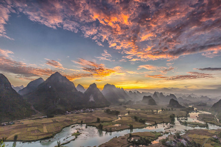 Dawn Ngoc Con,Trung Khanh,Cao Bang Beauty In Nature Day Mountain Nature No People Sky Sunset Tranquil Scene