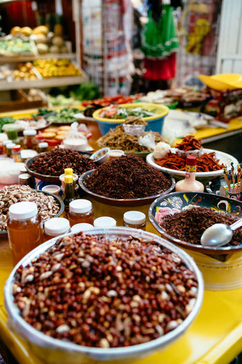 High angle view of food on table at market stall
