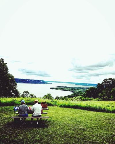 Sitting Togetherness Rear View Relaxation Senior Adult Senior Women Women Men Leisure Activity Adult Water Full Length Senior Men Tranquility Two People Adults Only Grass Bonding Casual Clothing Day Picnic Scenicoverlook Minnesotaphotographer EyeEm Selects