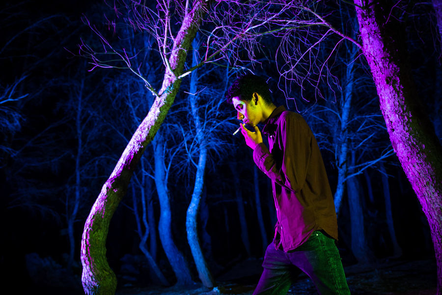 Colors Horror Photography Horrorart Men People People Photography Control Boy Trees Nightphotography Black Background Illuminated Performing Arts Event Full Length Standing Arts Culture And Entertainment Multi Colored Entertainment