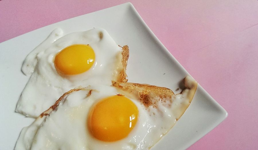 High angle view of fried egg on plate