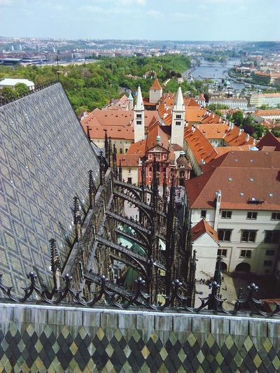 Low Angle View Of St Vitus Cathedral Against Townscape