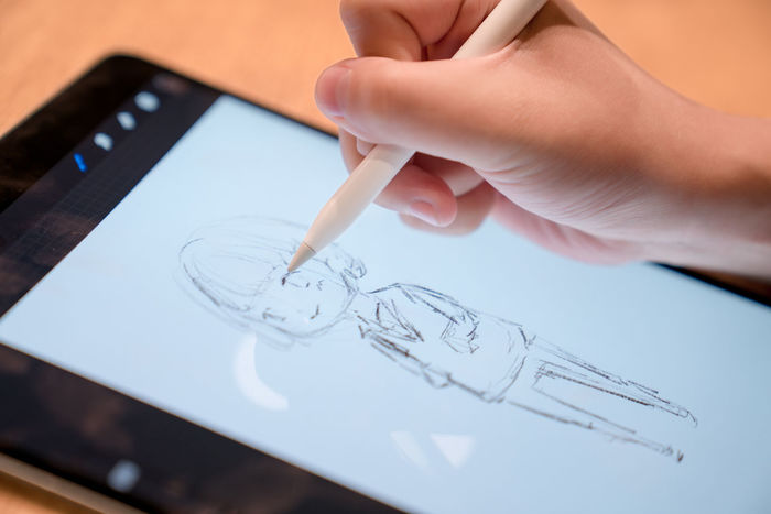 Make art on a tablet. Advanced Screen Sketch Tablet Art Computer Creation Digital Board Display Electronic Products Future Hand Illustration Painting Technology