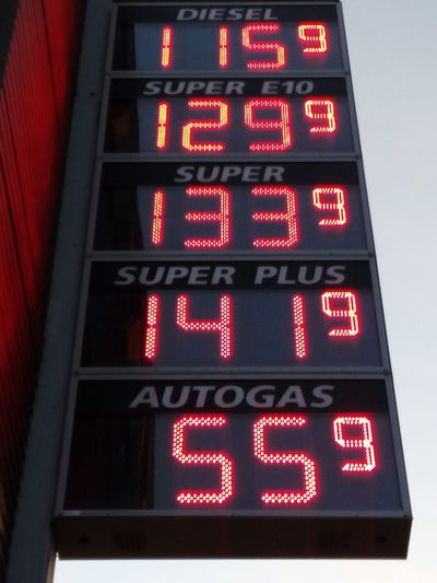 prices at a petrol gas station Petrol Station Price Prices Number Germany Euro Cent Benzin Diesel Gas Gasoline Liter