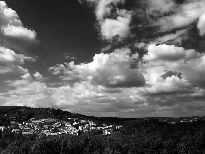 A part of Brno, Czech Republic. A view from my office. Brno Czech Republic Czech Landscape Landscape_Collection Landscape_lovers Sky Clouds And Sky Clouds Forest City Monochrome Bnw Blackandwhite Black And White Black & White IPhoneography