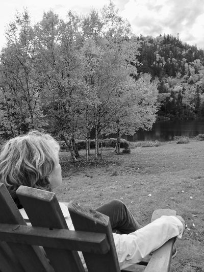 Rear view of woman sitting on bench in park