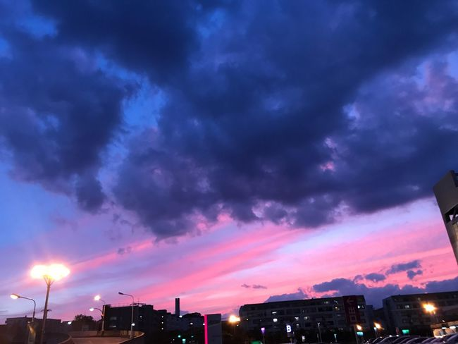 Sky Cloud - Sky Illuminated Night Outdoors Building Exterior Built Structure Low Angle View Sunset Architecture No People City Nature Beauty In Nature Scenics