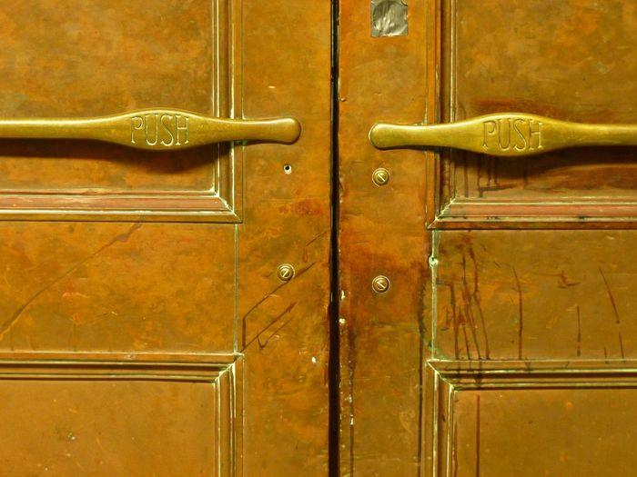 PUSH Behind The Door Concert Hall  COPPER DOOR Push Backgrounds Close-up Closed Day Door Door Handle Full Frame Indoors  Love It Modern Love No People Protection Safety Wood - Material Yellow