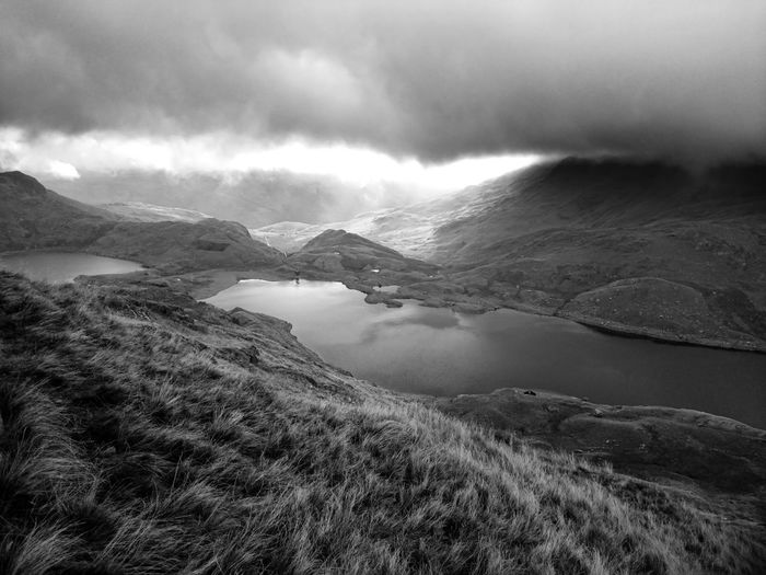 Black & White Llyn Llydaw Beauty In Nature Day Landscape Low Cloud Monochrome Mountain Nature No People North Wales Outdoors Scenics Sky Snowdonia National Park Tranquil Scene Tranquility Water Black And White Friday