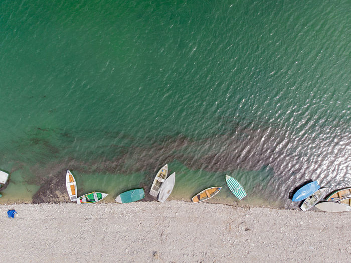 Dronephotography Aerial View Drone Point Of View Nature Land Day No People Outdoors Water Sylvensteinspeicher Boats Directly Above Lake Turquoise Colored Beach Summer Copy Space Nautical Vessel Transportation Rowboat
