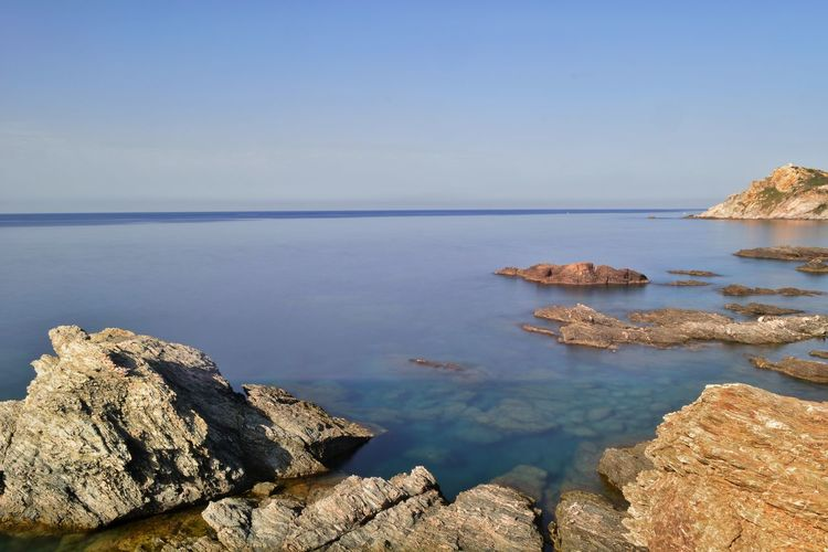 Long Exposure Water Sea Clear Sky Beach Horizon Rock - Object Sunny Sky Horizon Over Water Rocky Coastline