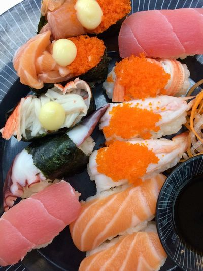Food Food And Drink Healthy Eating Freshness Wellbeing Japanese Food Variation Seafood Sushi Indoors  Ready-to-eat High Angle View Choice Rice Asian Food Still Life Fish