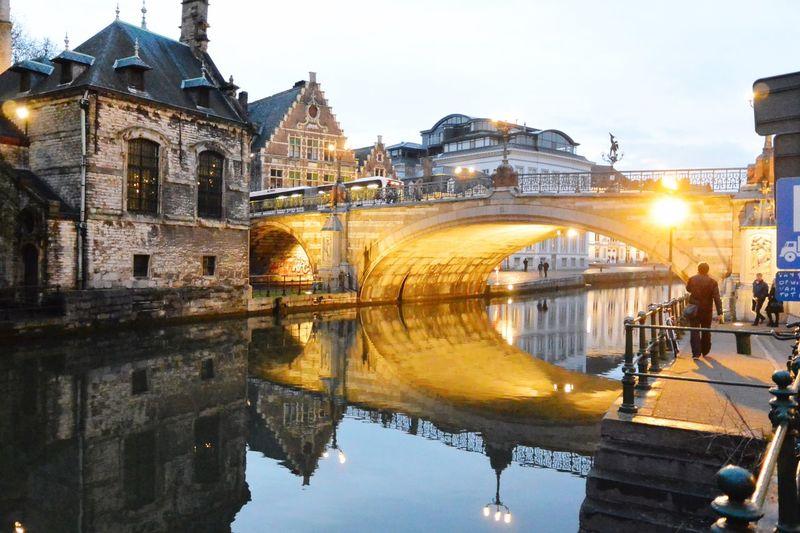Bridge Ghent Belgium Lights Night Lights Water Reflections Reflection