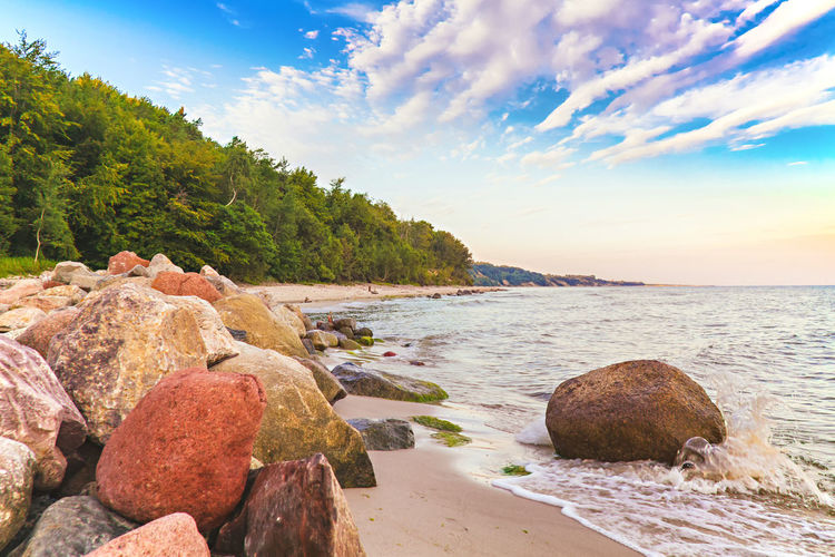 Coastal landscape of Baltic Sea at summer Baltic Baltic Sea Poland Władysławowo Baltic Coast Bałtyk Beach Beauty In Nature Day Nature No People Outdoors Rock - Object Sea Sea And Sky Sea View Seascape Tranquil Scene Water