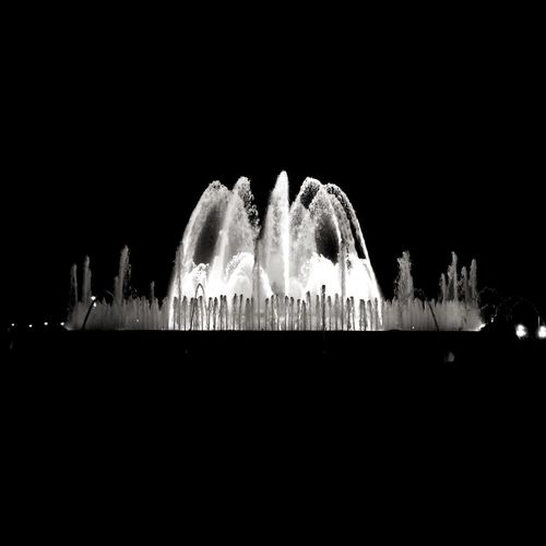 Night Long Exposure Illuminated Building Exterior Architecture Outdoors Built Structure Travel Destinations Arts Culture And Entertainment City Low Angle View Water No People Black Background Cityscape Sky Fountain Fountains SPAIN Barcelona Barcelona, Spain Fuente Fuente Magica
