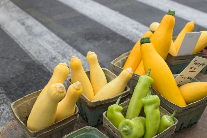 Yellow Street Outdoors Food Healthy Eating Summer No People Freshness Day Close-up City Syracuse Ny Full Frame Market Vegetable Squash Zuchinni