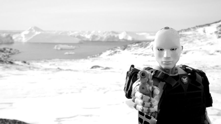 Toy standing on beach against sky