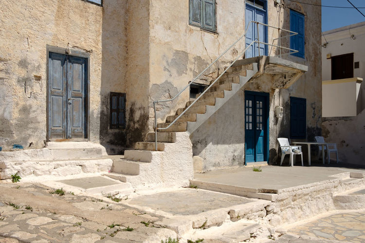 Blue and white town house - Halki, Greece, 2018 Aegean Sea Home Abandoned Architecture Building Building Exterior Built Structure Greece History House Residential District Ruined Sunlight The Past Traditional Window